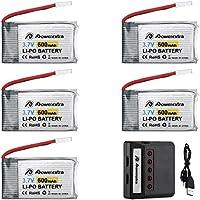 Powerextra Syma x5c Batería 5Pcs 3.7V 600mAh LiPO y Cargador para Syma X5 X5C X5SW X5SC-1 CX-3W CX-31 M68 M68R UDI U45