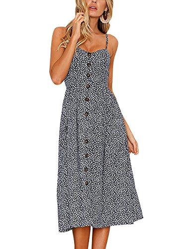 Yieune Sommerkleid Damen Strandkleid Ärmellos Blumenmuster Trägerkleid Knielang Abendkleider Sexy Partykleid Cocktail Kleid (Blau XL)