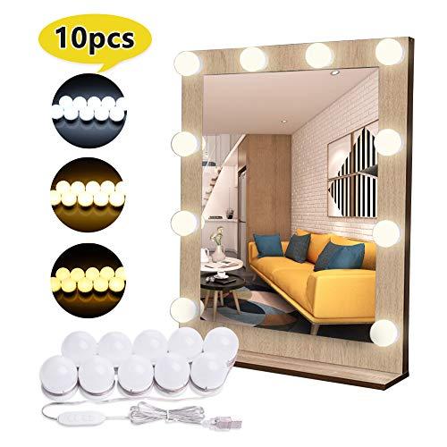 10er LED Spiegel Beleuchtung mit 3 Farbe Modus, EVILTO 10 Stufen Helligkeit Dimmbare Spiegelleuchte Hollywood Stil Schminklicht, Schminktisch Leuchte Spiegellicht Make-UP Licht.