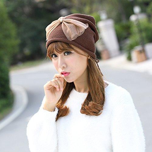 """Le printemps et l'¨¦t¨¦ cor¨¦en gaze loisirs Bow tie nail Pearl Baotou Cap"""") sur la petite fille la t¨ºte du pieu femme mar¨¦e,sont code(Flexible),Red Espresso Brown"""