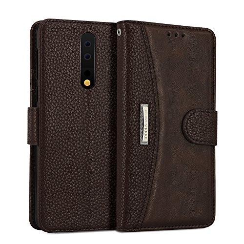 IDOOLS Custodia Nokia 8, Custodia per Telefono in Pelle con Slot per Schede, Cover Flip Wallet, Supporto per Telefono Cellulare - Marrone