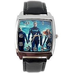 taport® Capitán América Soldado de Invierno cuadrado de cuarzo reloj correa de piel negro + Batería de repuesto libre + libre bolsa de regalo