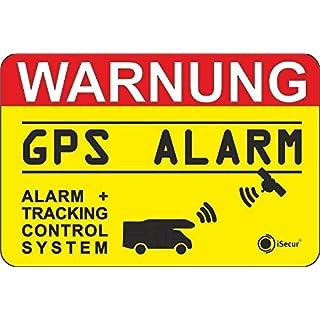 easydruck24de 2er Set Hinweis-Aufkleber GPS Alarm, Tracking System | hin_005 | 6x4cm außenklebend | iSecur | Achtung Warnung GPS gesichert Wohnmobil Wohnwagen