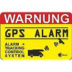 """2er Set Hinweisaufkleber """"GPS Alarm, Tracking System"""", hin_005, 6x4cm, iSecur, Aufkleber, Hinweis, Achtung, Warnung, GPS-gesichert, Alarm + Tracking Control System, außenklebend für Fensterscheiben, Wohnmobil, Wohnwagen"""