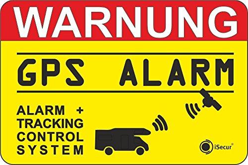 2er Set Hinweis-Aufkleber GPS Alarm, Tracking System | hin_005 | 6x4cm außenklebend | iSecur | Achtung Warnung GPS gesichert Wohnmobil Wohnwagen