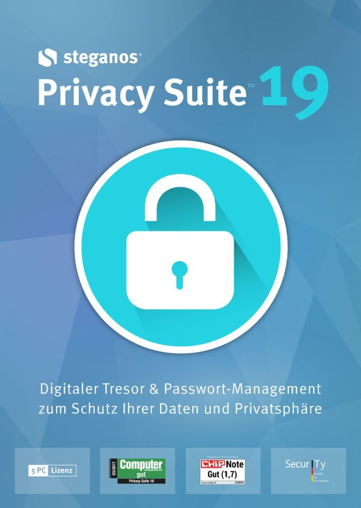 Steganos Privacy Suite 19 - Digitaler Tresor & Passwort-Management für Windows 10|8|7 [Download]