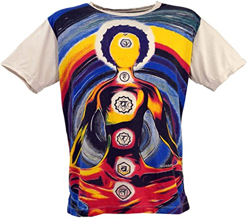 GURU-SHOP, Camiseta Espejo, Chakra Yogui/Beige, Algodón, Tamaño:L, Camisetas Seguras