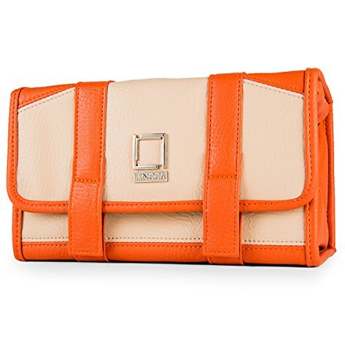 lencca-stowaway-eco-leather-compact-traveling-makeup-cosmetic-carry-bag-pack-cream-tan-orange-by-len