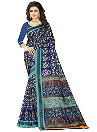 e-VASTRAM Womens Crepe Printed Art Silk Saree(V3126_Blue)