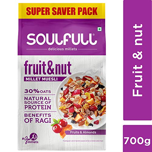 Soulfull Millet Muesli Fruit & Nut with Almonds & Real Fruits, 700 g