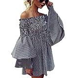 Moonuy Minikleid der Damen Weibliches Weg vom Schulter-Kleid 2018 Feiertags-Weg Schulter-Streifen-Partei-Damen-beiläufiges Kleid-Langes Hülsen-Kleid für Mädchen (EU 38/Asien L, Schwarz)