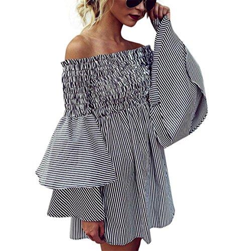 Moonuy Minikleid der Damen Weibliches Weg vom Schulter-Kleid 2018 Feiertags-Weg Schulter-Streifen-Partei-Damen-beiläufiges Kleid-Langes Hülsen-Kleid für Mädchen (EU 40 / Asien XL, Schwarz)