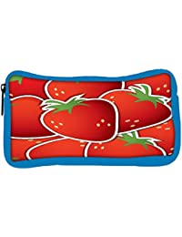 Snoogg Eco Friendly Canvas Strawberry Sticker Background Card In Vector Format Student Pen Pencil Case Coin Purse...