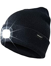 Oumeiou Warm Bright LED Lighted Beanie Cap Unisex Rechargeable Headlamp Hat Multi-color