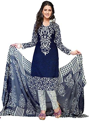 Krisha Creations Women\'s Silk Patiala Salwar Suit Set (Kcn22_Blue-Red_Free Size)