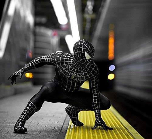 GFFLYY Black Muscle Venom Spider-Man-Kostüm für Kinder Siamese Tights Halloween Dress Up Zentai 3D-Druck Kinderoverall-Strampler, Schwarz,Black,XXL (Superhero Dress Up Kostüme)