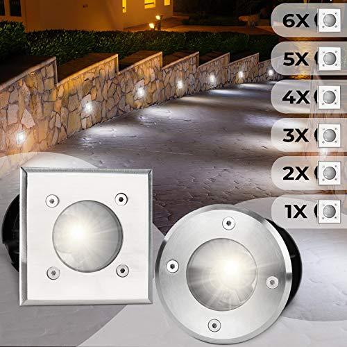 Bodeneinbaustrahler Eckig 6er Set | Außen (10x10x12cm), LED geeignet / GU10 / IP65-67, aus Edelstahl | Gestalten- und Setauswahl | Bodenstrahler, Gartenstrahler, Bodenleuchte