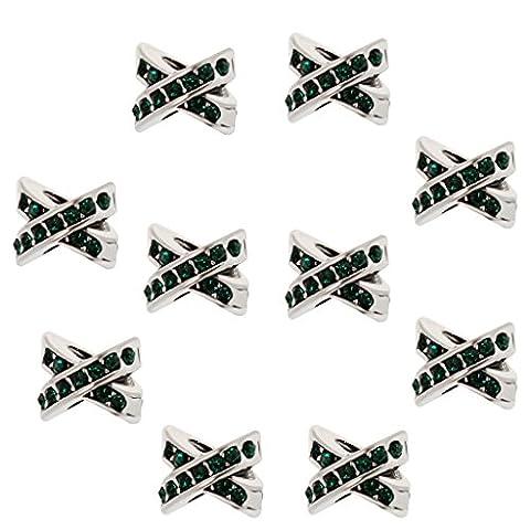 MagiDeal Cute XO Crystal Love Cross Charms Beads Pendants Fit Bracelet DIY Jewelry Pack of 10Pcs