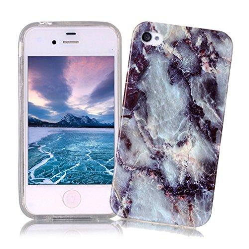 Coque iPhone 4/4S XiaoXiMi Etui en Marbre Texture Housse de Protection Soft TPU Silicone Case Cover Coque Flexible Lisse Etui Ultra Mince Poids Léger Housse Anti Rayure Anti Choc pour iPhone 4/4S - Gris