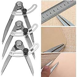 MASUNN Dibujo Medida Medidor Distancia Compás Divisor Diseño Artesanal De Cuero Herramienta-150mm