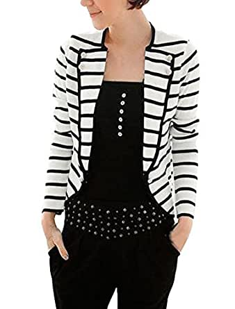 Allegra K Ladies Newly Notched Laper Long Sleeve Black White Casual Blazer L