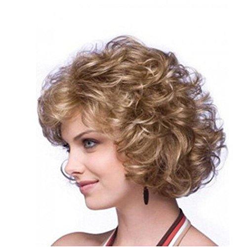Curly Haar Perücke zum Schwarz Frau Kurz Blond Haar Flauschige Wellig Natürlich Schauen Hitze Widerstand Ballaststoff 11