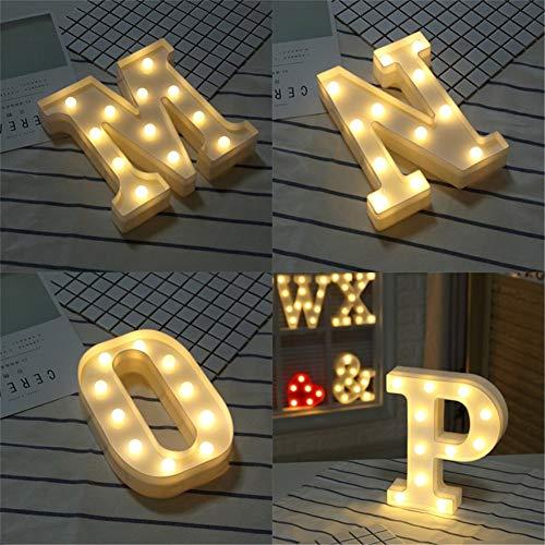 SuaMomente Englisches LED-Brieflicht, Lichter mit festlicher Atmosphäre, Einstelllichter, Hochzeitsnachtlicht, beliebig mit 26 Buchstaben kombinierbar,P