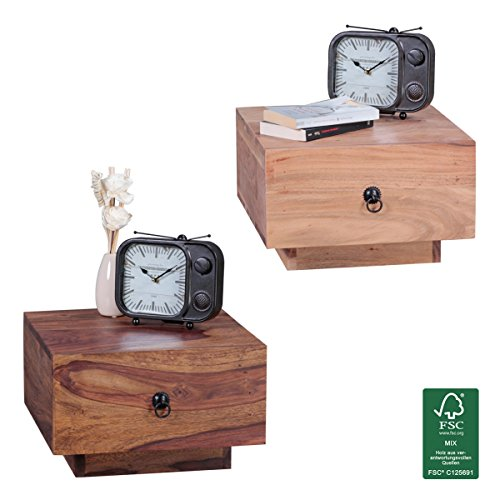 FineBuy legno massello comodino Design Night-dresser 25 cm di altezza con cassetto del comodino moderno in legno natural