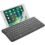 OMOTON Wireless Deutsche Bluetooth Tastatur / Keyboard (ultraschlanke) für Apple iPad Air, iPad Pro, iPad Mini,iPhone x,iPhone 8 / 7 /6s Plus, iPhone 8/7/6 /6s,und andere iOS Gerät,QWERTZ, mit Halterung, schwarz