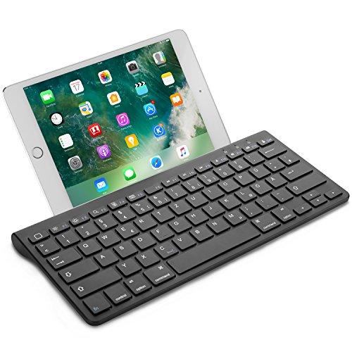 sche Bluetooth Tastatur (ultraschlanke) für alles Apple iPad Air, iPad Pro,iPad Mini,iPhone x,iPhone 8 Plus/ iPhone 8/ iphone 6s und andere iOS Gerät,QWERTZ,mit Halterung,schwarz ()