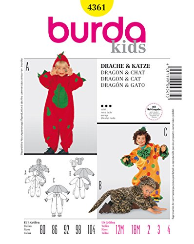 Land Kostüme Size Plus (Burda 4361 Schnittmuster Kostüm Fasching Karneval Drache Clown Katze (kids, Gr. 80 - 104) Level 3)
