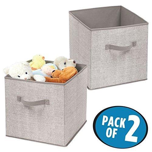 mDesign – lot de 2 – boîte de rangement – grand panier de rangement idéal pour ranger vos vêtements et comme rangement d'armoire – bac de rangement pratique – gris