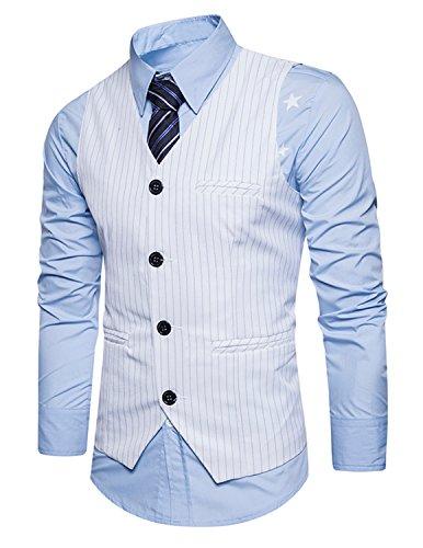 Einreihige Knöpfe (Boom Fashion Herren Anzugweste Gestreift V-Ausschnitt Einreihige Knöpfe Slim Fit Business Stilvolle Weste Weiß X-Large)