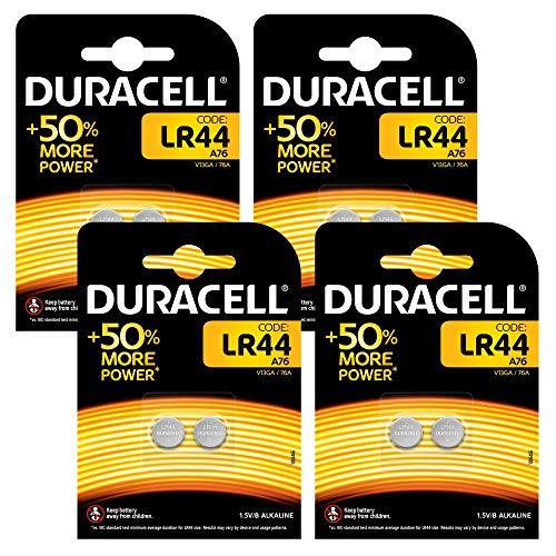 Duracell Specialty LR44 Alkali-Knopfzelle (1,5V, 8er-Packung (76A/A76/V13GA) entwickelt für die Verwendung in Spielsachen, Taschenrechnern und Messgeräten)