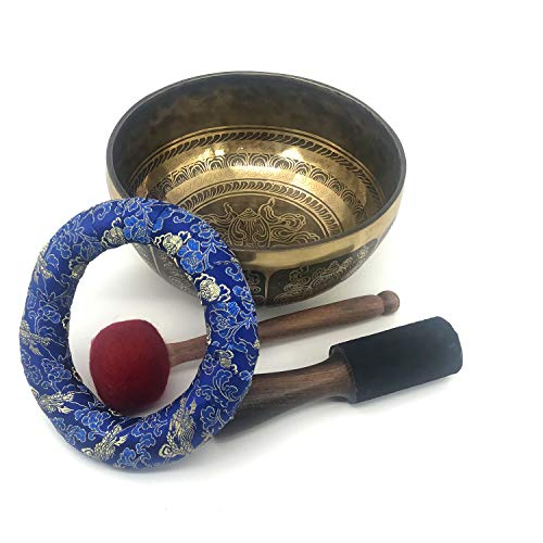 Sankha, Asthamangala und Buddha-Symbole, 7 Metall, handgefertigt, 21,6 cm tiefer Klang, Buddha, kraftvolles Klangschalen-Set (Gehirn ändern Therapie)