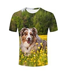 WEIYI BO Mens 3D Animal Print Tees Yellow Flowers and Pet Dog Short Sleeve T-Shirts for Couples