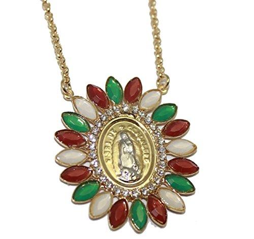 Diamantados of Florida Virgen de Guadalupe Medalla-Nuestra señora de Guadalupe México Bandera Medalla 18K Chapado en Oro Collar de 18Pulgadas