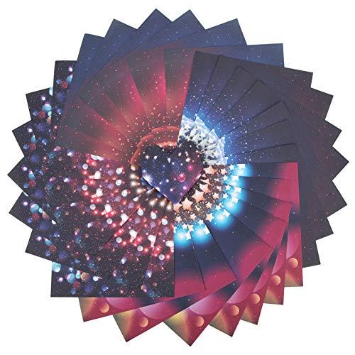 Origami Papier Set, 120 Blatt Sternenhimmel einseitiges 4 Regenbogen-Farben-Quadrat-faltender Papiersatz für Kran,Sterne,Flugzeuge,Flugzeuge,Tiere scherzt Kunst und DIY-Fertigkeiten(120-Starry Sky)
