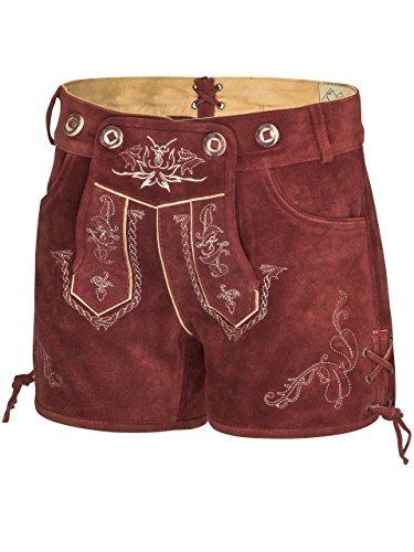 Damen Alpenrot Lederhose kurz - Trachtenlederhose Ladies Oktoberfest Hotpants rot (34, red) -