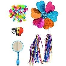 1SET(5PCS) Kids' Bicycle Accessories-Children's Bike Handlebar Streamers Sparkle Tassel Ribbon/Flower Pinwheel/Bicycle Wheel Stars Beads Decoration/Mirror/Bell Ring(Color Random)