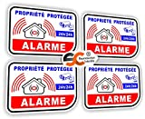 Sticker Alarme Vidéo-Surveillance Autocollant (Lot de 4 Stickers)...