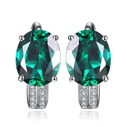 JewelryPalace Pendientes de Aro femenino adornado Nano rusa imitado esmeralda oval en plata de ley 925