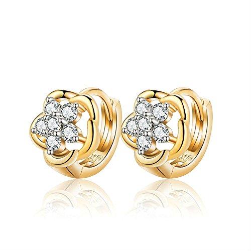 BOBIJOO Jewelry - Paar Ohrringe Baby Kind Mädchen mit Goldenem feinem Gold Blumen Bauchnabelpiercing Strass