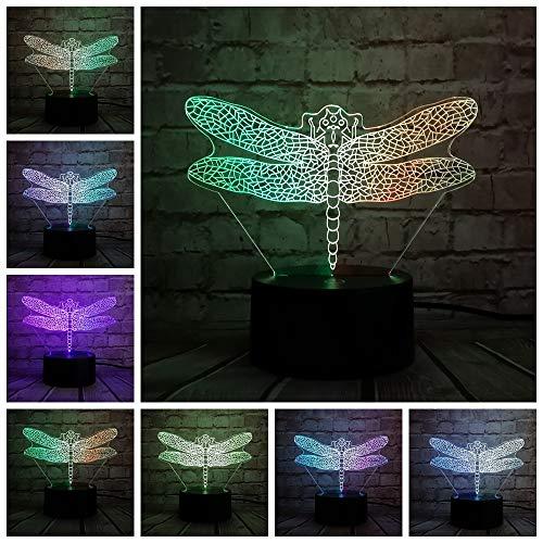 wangZJ Insetto 3d Lampada/libellula Usb Night Light/mixcolor Illusion Led Illuminazione/Giocattoli per bambini Touch Table Desk Decor/Touch e telecomando