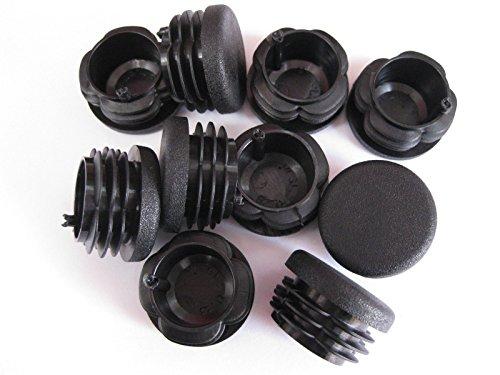 Capuchon d'extrémité rond en plastique noir à insérer - bouchon pour tuyau - 28 mm, noir