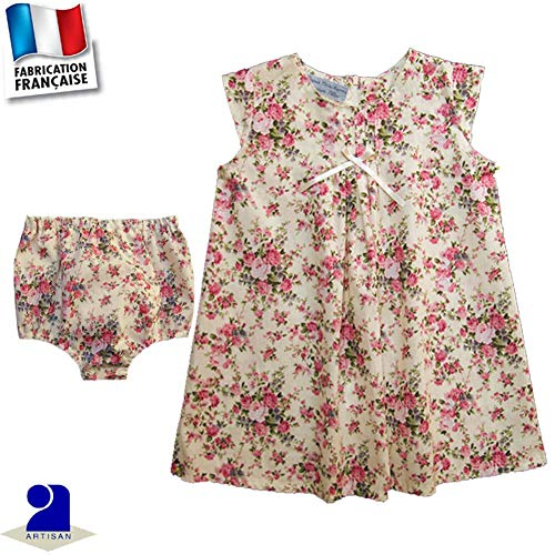 3638f920a5013 Poussin Bleu - Robe et bloomer cérémonie 0 mois-4 ans Made In France Taille