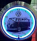 NEONUHR NEON CLOCK GRAUER VW BUS T1 VOLKSWAGEN WANDUHR BELEUCHTET MIT BLAUEN NEON RING-ERHÄLTLICH AUCH MIT ANDEREN NEON FARBEN-SIEHEN VERGLEICHSBILDER!