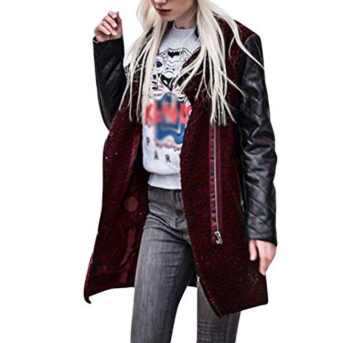 Mäntel CLOOM damen windbreaker Langarm Langarmshirts Strickjacke Frauen Kimono Cardigan Lange Coat Mode voll Reißverschluss Bluse Hemd Kontrast Farbe Streetwear (Rot, XL) (Farbe Kontrast Leder)