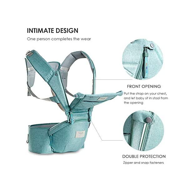 SONARIN 3 in 1 Breathable Hipseat Baby Carrier,Front Opening Design,Sun Protection,Multifunction,Adapted to Your Child's Growing, 100% Guarantee and Free DELIVERY,Ideal Gift(Green) SONARIN Applicable age and Weight:0-36 months of baby, the maximum load: 25KG, and adjustable the waist size can be up to 47.2 inches (about 120 cm). Material:designers carefully selected soft and delicate Cationic twill cloth. Resistant to wash, do not fade, ensure the comfort and wear resistance, Inner pad: EPP Foam,high strength,safe and no deformation,to the baby comfortable and safe experience. Description:patented design of the auxiliary spine micro-C structure and leg opening design, natural M-type sitting.Widened shoulder strap, Widened seat surface, thickened cushion, let the baby and mother enjoy the joy. H-type bridge belt, effectively fixed shoulder strap position, to prevent shoulder straps fall, large buckle, intimate design, make your baby more secure. 5