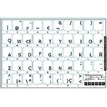 Pegatinas teclado español transparentes con letras NEGRO - Apto para cualquier teclado